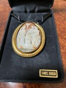 Large 15 K Solid Greco Roman Theme Cameo Woth Ladies, Puti, Oil Lamp, Antique