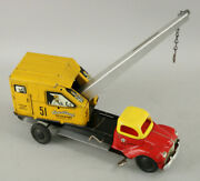Vintage Courtland Tin Mechanical Wind-up Toy Excavating Truck W/operating Crane