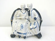 Porcelain Blue And White Victorian Couple Figurine Sitting On Sofa