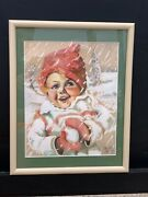 Vintage1937 Signed Painting Children Realism Girl Snowball Winter Advertising Nr