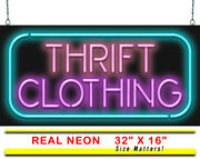 Thrift Clothing Neon Sign | Jantec | 32 X 16 | Thrift Store Neon Used Antiques