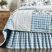 Vhc Brands Farmhouse Twin Bed Skirt Gathered Annie Blue Buffalo Check