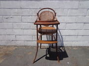 Antique High Chair Baby Seat Wood Cane Bentwood Thonet Style Rustic Primitive