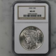 1923 Peace 1 Ngc Certified Ms65 Philadelphia Minted Us Silver Dollar Coin