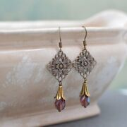 Antiques Gold And Brass Art Nouveau Chandelier Earrings With Amethyst Crystals
