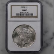 1923 Peace 1 Ngc Certified Ms65 Philadelphia Mint Us Silver Dollar Coin