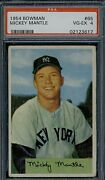 1954 Bowman Mickey Mantle 65 Psa 4 Centered Nice Color No Creases