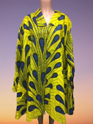 African Big Shirt Plus Size Authentic Tunic Yellow Peacock Print Dress