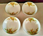 Lot Of 4 Vintage Ice Cream Bowls Paden City Pottery China Ivory Yellow Floral