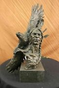 Native American Gift Indian Chief South Western Bronze Bust Sculpture Statue Nr