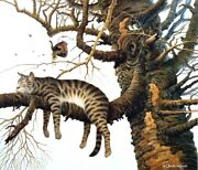 Charles Wysocki Too Pooped To Participate Cat In A Tree Print 20 X 17.25