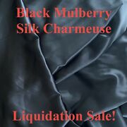 """By-the-yard Mulberry Silk Satin Charmeuse Fabric, Black, 55"""" Width, 19mm Heavy"""