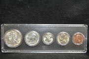 1942-p Five Coin Set Penny - Half Dollar In Whitman Holder - Free Us Shipping