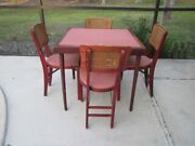 Vintage Mid-century Stakmore Card Table With 4 Stakmore Folding Cane Back Chairs