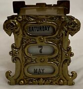 Antique Brass Cased Desktop Perpetual Calendar, The Case With Rollers To Display