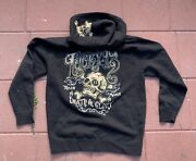 Lucky 13 Death Or Glory Skull Big Logo Hoodie Jacket L Minty Rare Full Zip