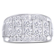 Menand039s 2 Ct Champagne Round Cut Diamond Multi-row Column Ring In 10k Gold
