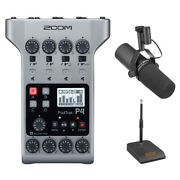 Zoom Podtrak P4 Portable Podcast Recorder W/ Shure Sm7b Vocal Mic And Mic Stand