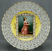 Klemm Dresden Hand Painted Renaissance Girl Yellow And Gold Reticulated Charger