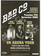 Bad Cmpany 11x17 Concert Poster Signed By Paul Rodgers, Mick And Simon Uk 2009