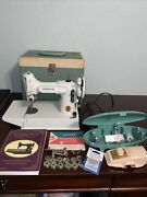 Vtg Singer 221k Featherweight White Used Working With Case + Extras Serviced