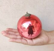 Antique German Kugel Red And Pink Double Shade Christmas Ornament Heavy Glass 3.5
