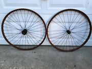 Antique 1890's Pneumatic Safety Bicycle Front / Rear 36 Spoke 28 Wood Wheel Set