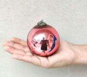 Antique German Kugel Pink Red Double Shade Christmas Ornament Heavy Glass 3