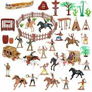 Wild West Cowboys And Indians Plastic Figures Playset,educational Bucket Toys