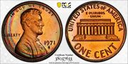 1971-s Lincoln Cent Pcgs Pr66rb Proof Gem Crescent Toned Rainbow Only 18 Finer