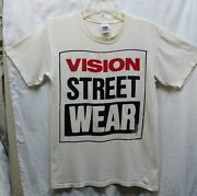 Vintage 1986 Authentic Single Stitch Vision Street Wear White T-shirt Size Med.