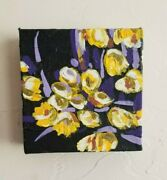 4x4 Mini Canvas Original Yellow Floral Abstract Acrylic Painting Hand Painted