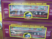Brand New 2 Pack Mth Premier Merry Christmas Flat Cars W/ 40' Trailer O Scale