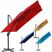 Hanging Patio Umbrella With 360° Rotation Outdoor Cantilever Market W/ Easy Tilt