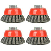 4 Pc 3'' Wire Cup Brush-knotted Cup Brush For Grinders,5/8 Inch-11 Unc For Drill
