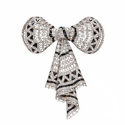 Filigree Mount With Millegrain Black Onyx And White Cz Long Ribbon Bow Brooch Pin