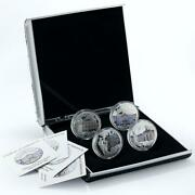 Malawi Set 4 Coins Palaces Of Saint Petersburg Russia Colored Silver Coins 2010