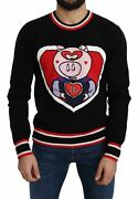 Dolceandgabbana Men Black Pullover Cashmere Pig Of The Year Print Casual Sweater