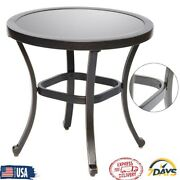 Glass Table Tempered Top Clear Side Round Patio Dining Garden Furniture Outdoor