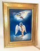 Vintage Original Nude Lady With Swan Whimsical Whimsy Oil Painting On Copper