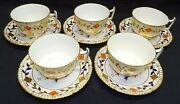 Royal Crown Derby England Asian Rose 5 Cups And Saucers Gadroon