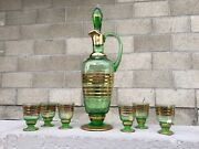Green And Gold Decanter Set W/ 6 Glasses Made In Romania Vintage Boho Barware