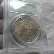 1887 1 Morgan Silver Dollar Coin Pcgs Ms 63 Ogh Toned Toner Green Label Holder