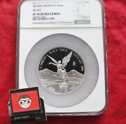 Mexican Libertad 5 Oz Proof .999 Silver Coin Mexico 2014 Ngc Pf70 Mintage Of 800