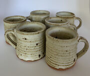 Vivika And Otto Heino 6 Pottery Espresso Mugs Cups Midcentury Mod Marked Speckled