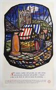 Philip Roberts Country Market Lithograph Poster Mounted On Linen