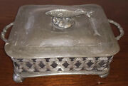 Mcm Pewter Scrolled Glass Covered Trinket Dish Jam Butter Fish Handle