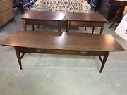 Mid Century Modern Lane Coffee Table W/2 Matching End Tables C.1960's