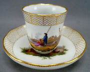 Meissen Hand Painted Courting Couple Boats Castle And Gold Chocolate Cup C. 1740