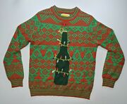 Tipsy Elves Beer Christmas Tree Ugly Holiday Sweater W/ Bottle Opener - Mens L